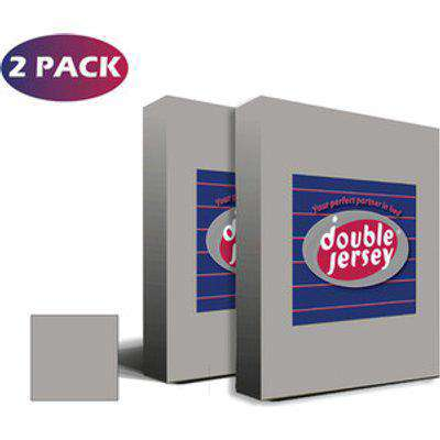 Double Jersey Double Pack Fitted Bed Sheet Single - Silver Grey