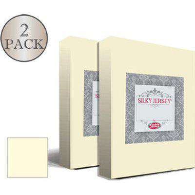 Double Pack Silky Jersey Fitted Bed Sheets  - Ecru / Small Single
