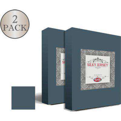 Double Pack Silky Jersey Fitted Bed Sheets  - Anthracite / Single