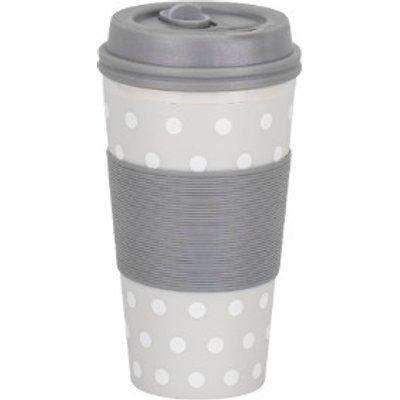 Double Wall Grey Polka Dot Travel Mug