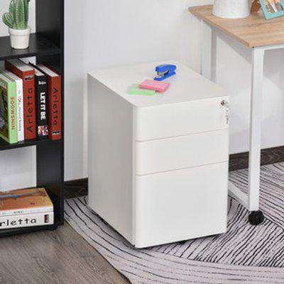 3 Draw Metal Filing Cabinet - White