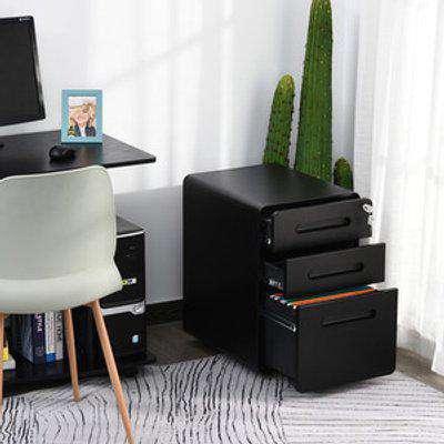 3 Draw Modern Steel Filing Cabinet  - Black