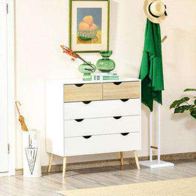 5 Drawer Dresser Cabinet - White, Oak