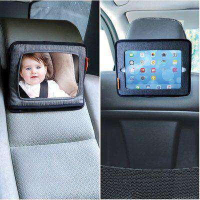 Dreambaby Backseat Mirror with 'Built-In' Ipad And Tablet Holder - Grey - Grey