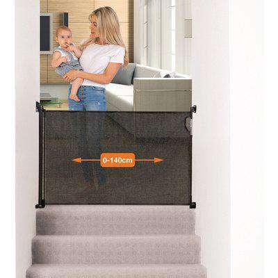 Dreambaby Retractable Safety Gate - Black  (Fits Gaps 0-140cm)  - Black