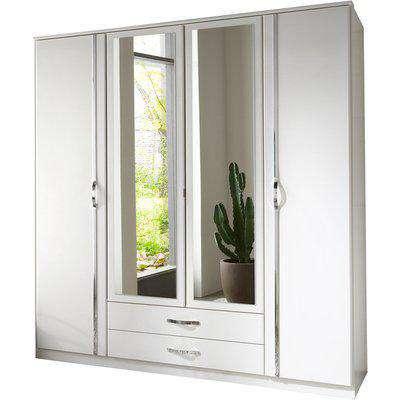 Duo 4 Door 2 Drawer and 2 Mirror - White / 4 Door Wardrobe