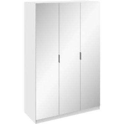 Echo Mirrored Three Door Wardrobe - White exterior / White interior