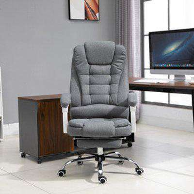 Ergonomic Office Chair with Retractable Footrest - Grey, White