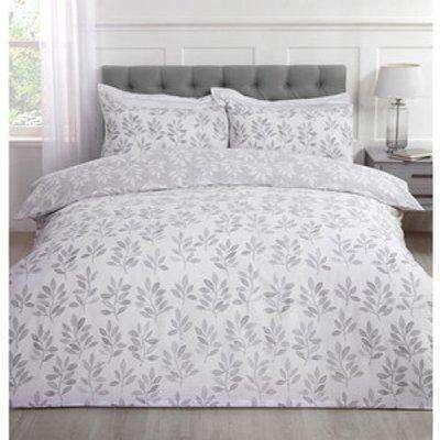Everdene Grey Duvet Cover and Pillowcase Set - Super King