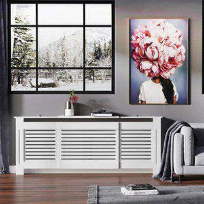 Extendable Radiator Cover Cabinet - White