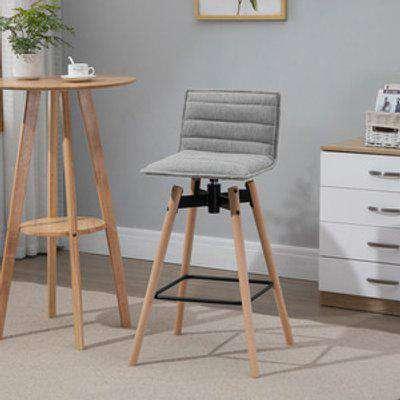 Fabric Barstool with Backrest  - Light Grey