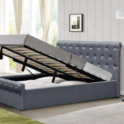 Grey Fabric Diamante Chesterfield Ottoman Sleigh Bed - Single