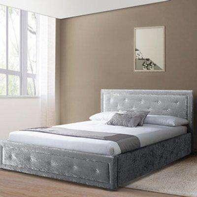 Fabric Diamante Ottoman Bed Frame in Silver or Grey  - Silver / Single