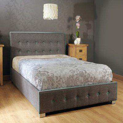 Fabric Ottoman Bed Frame with Contrasting Teal Buttons - Single