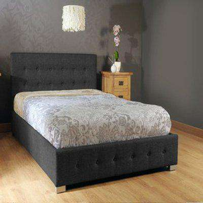Black Fabric Ottoman Storage Gaslift Bedframe - Single