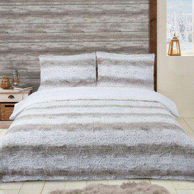 Faux Fur Duvet Cover and Pillowcase Set - Natural / King