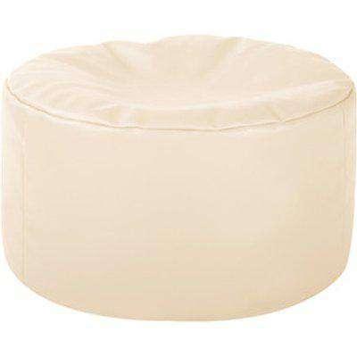 Faux Leather Cube Bean Bag Footstool -  Cream