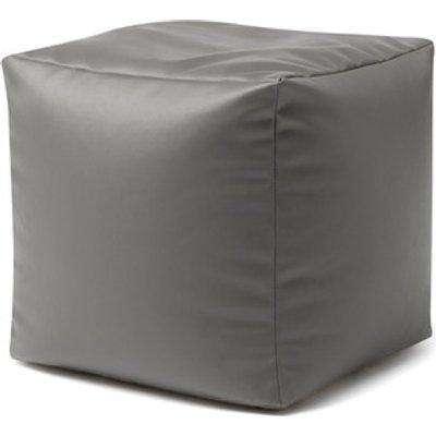 Faux Leather Cube Bean Bag Footstool - Slate Grey