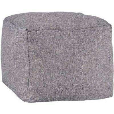 Faux Linen Footstool - Grey
