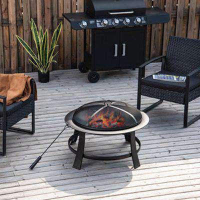 Fire Pit Heater Brazier Round Garden Cover - Black