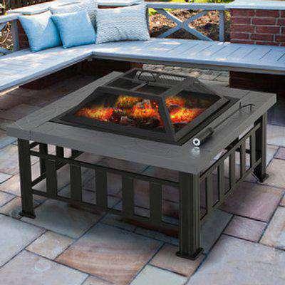Fire Pit Heater Enclosure Square Table - Black