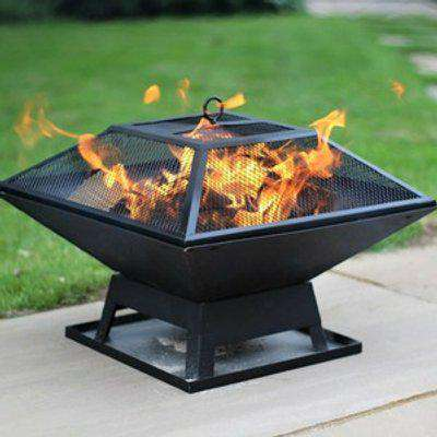 Fire Pit Table Top Square Steel Patio Garden Heater Outdoor Firepit Folding BBQ Camping UK Seller - Black