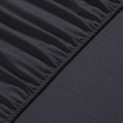 Flannel Fleece Fitted Bed Sheet Queen - Anthracite