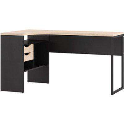 Focus Corner Desk With Two Drawers - Matt Black/Oak