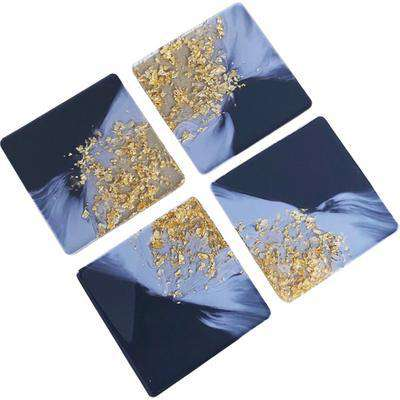 Grey and Gold Foil Resin Square Coaster Set - Grey