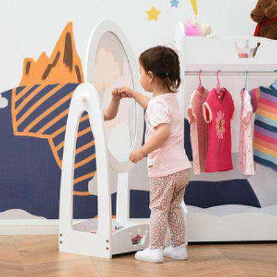 Free Standing Child's Dressing Mirror with storage shelf - White