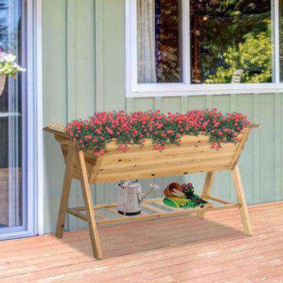 Free Standing Wooden Planter Garden Raised Bedw/ Storage Shelf - Natural