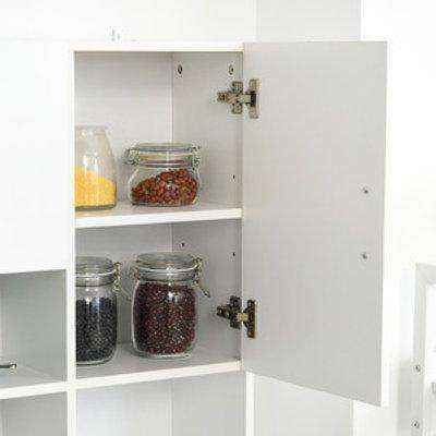 Freestanding Kitchen Storage Unit with Cupboard - White