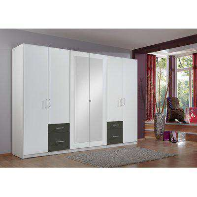 Freiburg 5 Door Wardrobe With Graphite Drawers - White