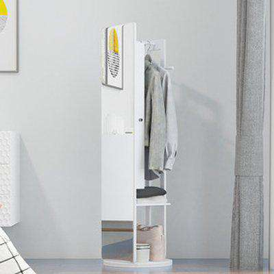 Full Length Mirror with Jewelry Cabinet Coat Rack - White