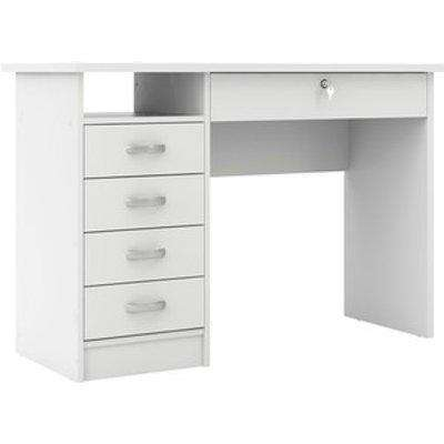 Function Plus Desk With Five Drawers - White