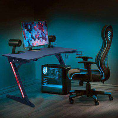 Gaming Desk with LED Lights - Black