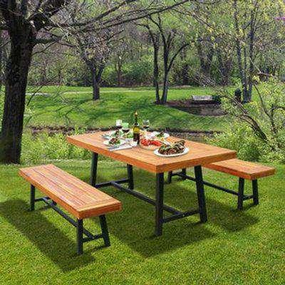 Garden 3 Pieces Acacia Wood Picnic Table and 2 Benches Set  - Natural wood colour