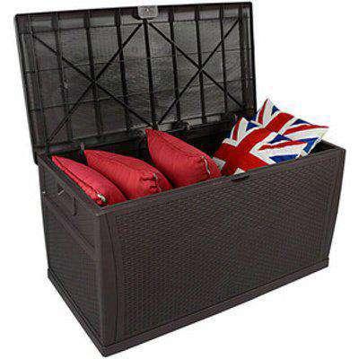 Garden Plastic Waterproof Storage Box - Brown Rattan / 61cm