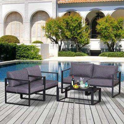 Garden Sofa Set 2 Single Armchair 1 Bench and Side Table  - Grey