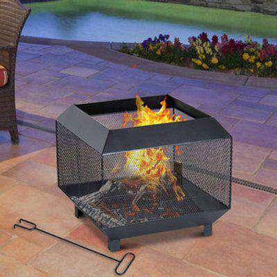 Garden Square Firepit Heater Stove  - Black