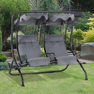 Garden 2 Seater Swing Chair  - Grey