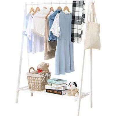 Garment Rack Wooden Single Hanging Rail with Shelf Storage - White / 4.54kg