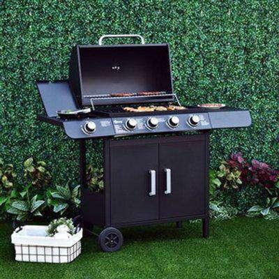 Gas Burner Grill BBQ Trolley - Black