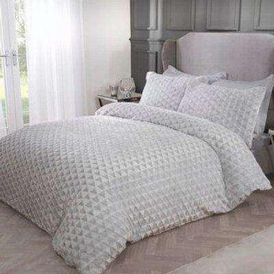 Sparkle Fleece Duvet Cover and Pillowcase Set - Black / Super King