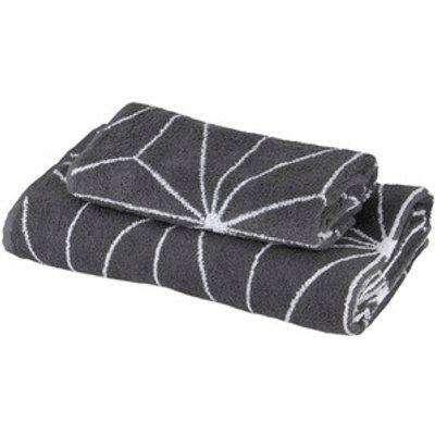 Geometric Jacquard Bath Towel - Grey