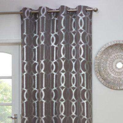 Geometric Print Thermal Single Panel Curtain - Grey