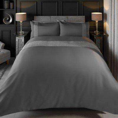 Giana Velvet Grey Duvet Cover and Pillowcase Set - Grey / Double