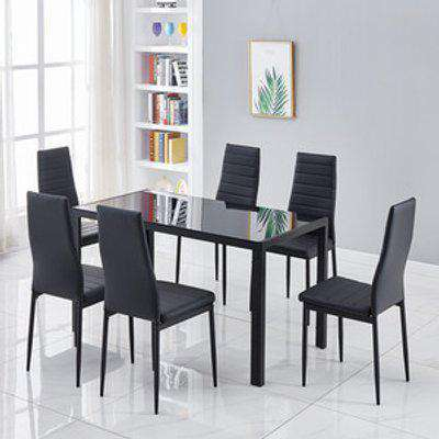 Glass All Black Dining Table Set With 6 Chairs - Black