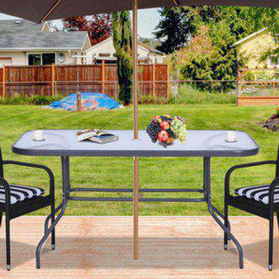 Glass Top Garden Dining Table with Metal Frame & Parasol Hole - Carbon Grey
