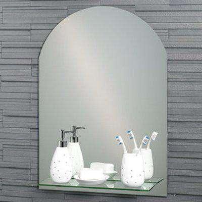 Greenwich Arched Frameless Bathroom Mirror with Glass Vanity Shelf - Mirror